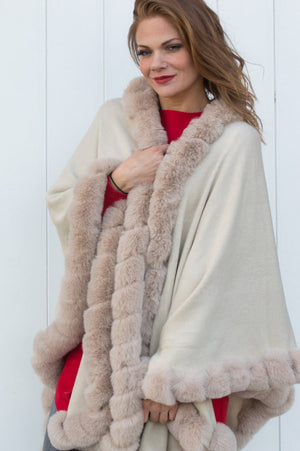 Beige Faux Fur Detail Cape - Mandy's Heaven