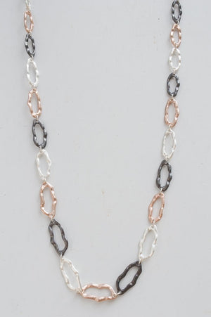 Long Charcoal, Rose Gold and Silver Oval Ring Chain Necklace