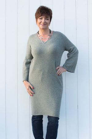 Olive Green Flute Sleeve Long Jumper