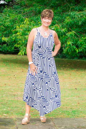 Navy & White Aztec Midaxi Dress