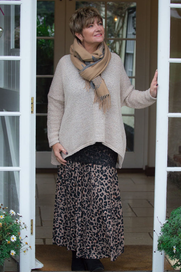 Brown Leopard Print Pleated Midaxi Skirt