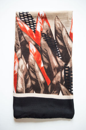 Beige Feather Print Scarf