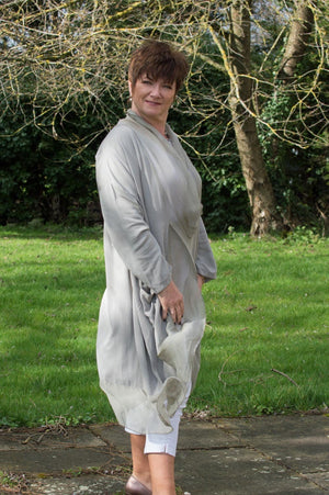 Taupe Cross-Over Silk Tunic Curve