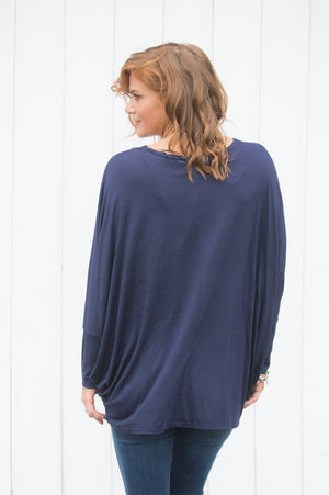 Navy Multi-Star Gem Embellished Top