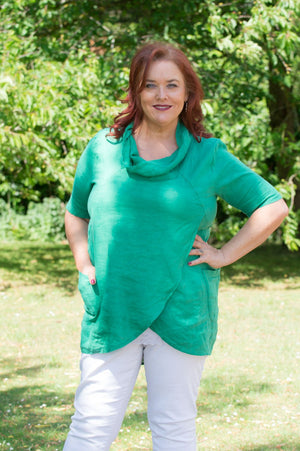 Green Linen Cowl Neck Wrap Top