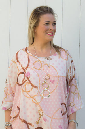 Light Pink Chain & Feather Print Polka Dot Blouse