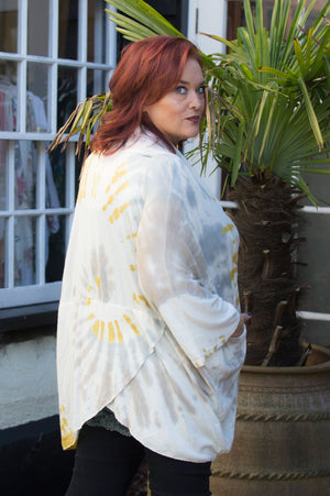 Mustard and White Tie Dye Cross Over Tunic