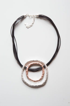 Black Cord Circle Necklace - Mandy's Heaven