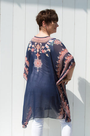 Navy & Peach Nancy Kaftan