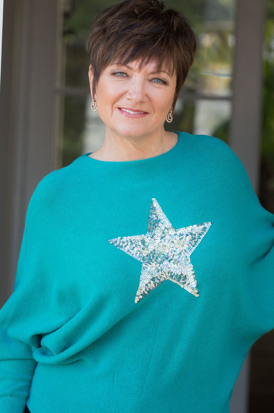 Turquoise Star Sequin Jumper