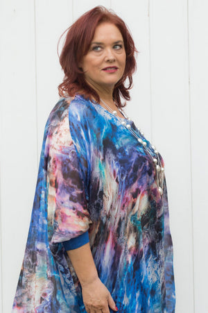 Electric Blue Marble Print Silk Blouse Curve