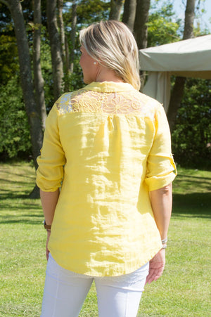Lemon Floral Back Detail Linen Shirt