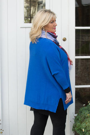 Royal Blue Knitted Batwing Jumper