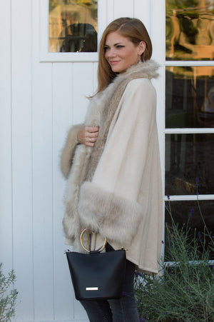 VIP Cream Faux Fur Sleeved Wrap