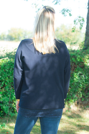 Navy Diamante Cuff Jumper