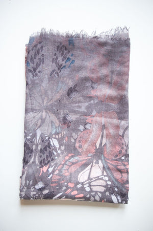 Charcoal & Pastel Pink Butterfly Scarf