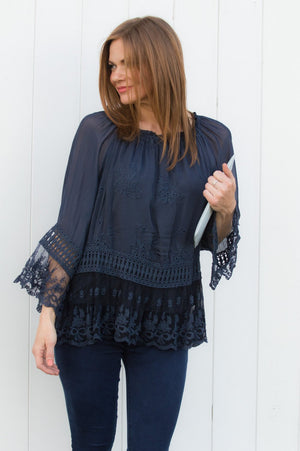 Navy Floral Crochet Silk Blouse