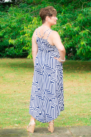 Navy & White Aztec Midi Dress