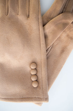 Faux Suede Button Gloves