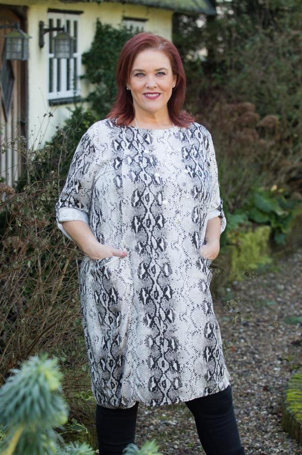 Cream and Black Snake-Print Smock Top - Mandy's Heaven