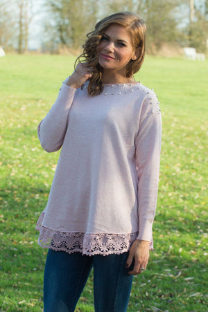 Baby Pink Pearl and Diamante Lace Jumper - Mandy's Heaven