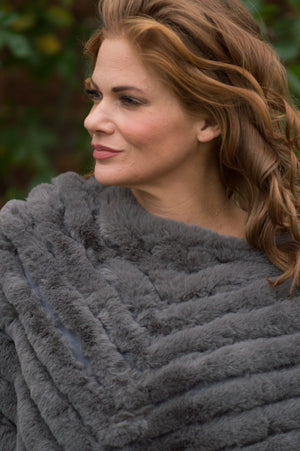 Dark Grey Cashmere Blend Faux Fur Poncho - Mandy's Heaven