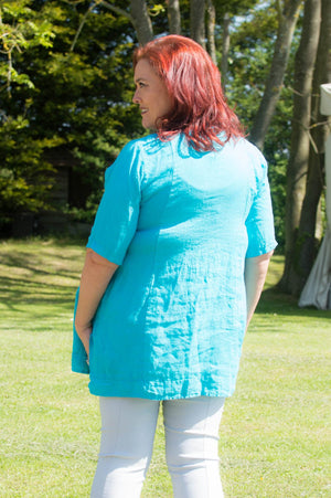 Turquoise Button Detail Linen Smock Top
