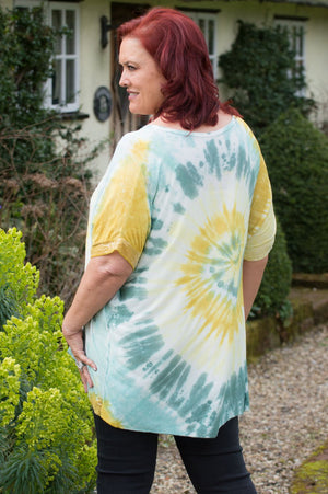 Green & Yellow Tie Dye Sequin Top