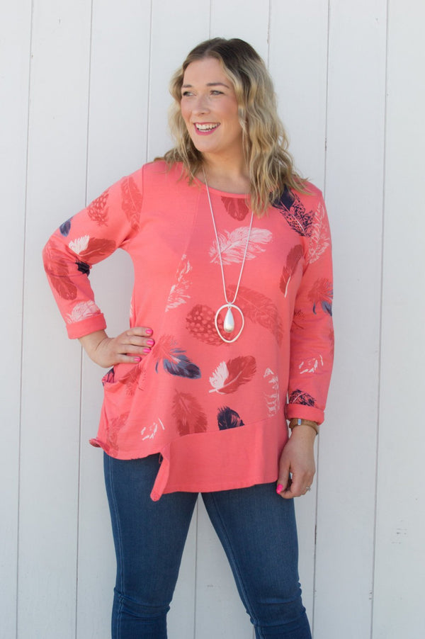 Coral Feather Print Asymmetric Top - Mandy's Heaven