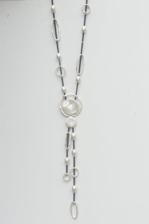 Black Abstract Necklace With Silver Charms - Mandy's Heaven