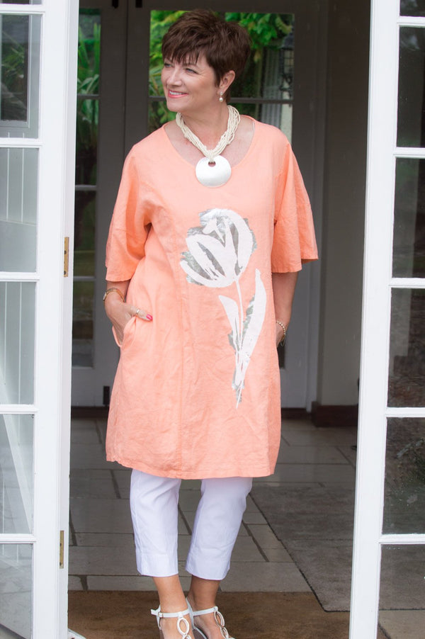 Peach Metallic Tulip Linen Top