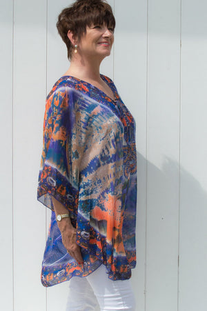 Purple & Orange Luxury Peacock Print Kaftan