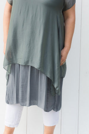 Charcoal Double Layered Silk Dress