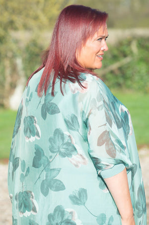 Green Floral Waterfall Silk Layered Blouse