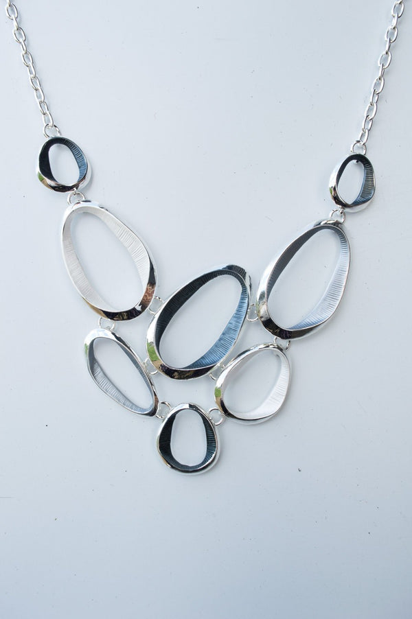 Short Silver White and Charcoal Oval Necklace