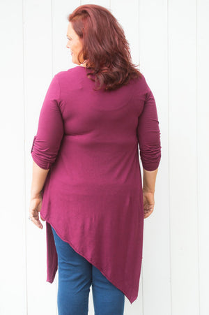 Maroon Asymmetric Wrap Top