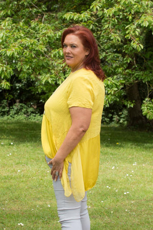 Mustard Cotton & Silk Detail Waterfall Top