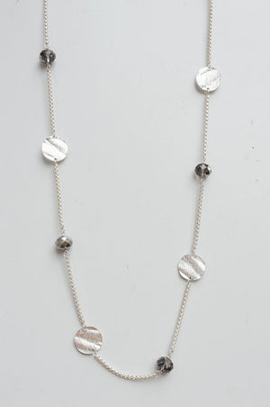 Long Delicate Silver Charm Necklace