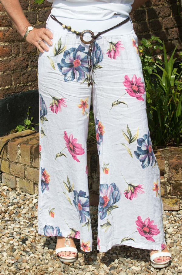 White Floral Linen Trousers