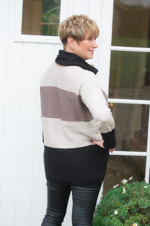 Cream, Black & Taupe Striped Jumper & Snood