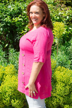 Fuchsia Button Detail Linen Smock Top