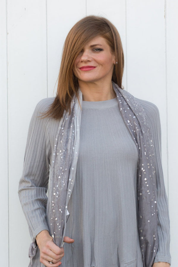 Grey and Silver Shimmer Spot Scarf