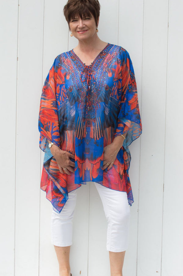 Electric Blue & Red Luxury Paradise Print Kaftan