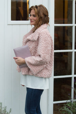 VIP - Blush Pink Faux Fur Jacket