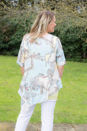 Light Blue & Yellow Paisley Print Top