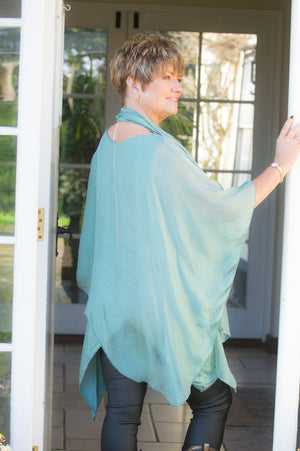 Green Layered Asymmetric Silk Waterfall Top