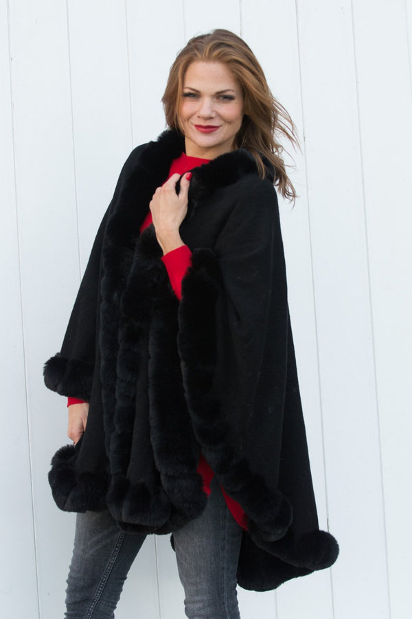 Black Faux Fur Detail Cape - Mandy's Heaven