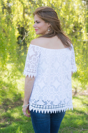 White Lace Detail Off The Shoulder Top