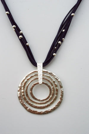 Short Navy Suede Pearlescent Necklace