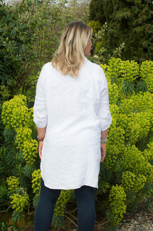 White Floral Stitch Linen Shirt